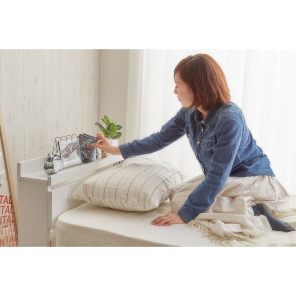 ベッド シングルベッド シングルベット 白い 収納ベッド ベッドフレームのみ マットレス無し 棚 コンセント付 themall 03
