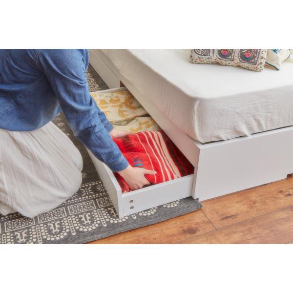 ベッド シングルベッド シングルベット 白い 収納ベッド ベッドフレームのみ マットレス無し 棚 コンセント付 themall 04