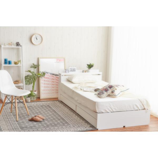 ベッド シングルベッド シングルベット 白い 収納ベッド ベッドフレームのみ マットレス無し 棚 コンセント付 themall 05