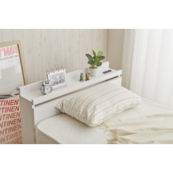 ベッド シングルベッド シングルベット 白い 収納ベッド ベッドフレームのみ マットレス無し 棚 コンセント付 themall 06