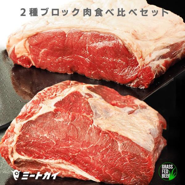 牛肉 肉 ステーキ サーロインとリブロースの食べ比べセット!総重量1.8kg BBQ 送料無料 ブロック肉 塊肉  赤身
