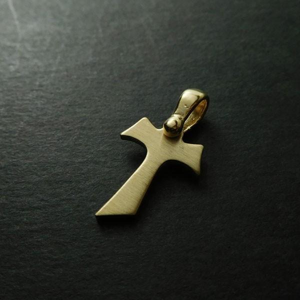 タウ十字 クロス  ペンダント シルバー マットイエローゴールド