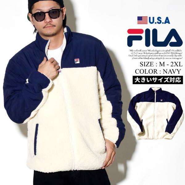 f96c608977b FILA フィラ ボアジャケット メンズ もこもこ ナイロンアウター 大きいサイズ USAモデル 防寒 暖かい ロゴ スポーツ ...