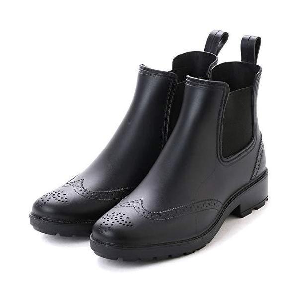 アシスタントレインブーツメンズレインシューズサイドゴアブーツビジネスシューズウイングチップ長靴(ブラック,24.0cm