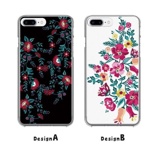 iPhone11 Pro Max X XSMax XR ハードケース カバー ケース Xperia XZ galaxyS9 刺繍風 花柄|three-o-one|02