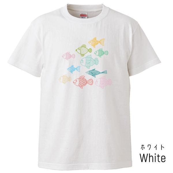 Tシャツ メンズ レディース 半袖 UNISEX 魚 お魚 魚群 イラストおもしろTシャツ クルーネック Uネック プリントTシャツ|three-o-one|02