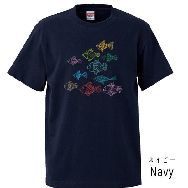 Tシャツ メンズ レディース 半袖 UNISEX 魚 お魚 魚群 イラストおもしろTシャツ クルーネック Uネック プリントTシャツ|three-o-one|03