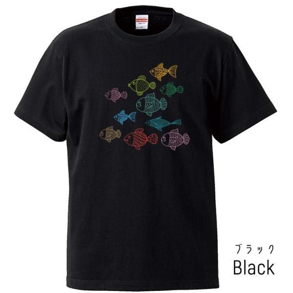Tシャツ メンズ レディース 半袖 UNISEX 魚 お魚 魚群 イラストおもしろTシャツ クルーネック Uネック プリントTシャツ|three-o-one|04