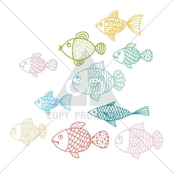 Tシャツ メンズ レディース 半袖 UNISEX 魚 お魚 魚群 イラストおもしろTシャツ クルーネック Uネック プリントTシャツ|three-o-one|05