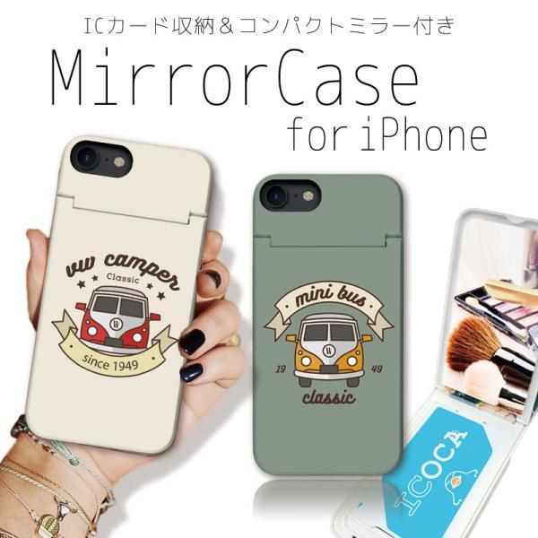 スマホケース iPhone XR X XS Max 8 7 6 plus SE ケース 鏡付き ミラー ケース ICカード カード収納 クラシックカー 車 レトロ ビンテージ three-o-one