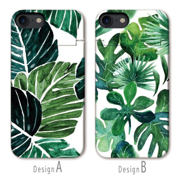 スマホケース iPhone XR X XS Max 8 7 6 plus SE ケース 鏡付き ミラー ケース ICカード カード収納 パーム ヤシの葉 アロハ 夏 葉っぱ 緑 ボタニカル|three-o-one|02