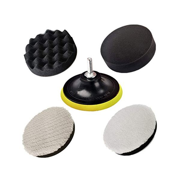 (5点セット125mm)ポリッシャーバフjiguoor洗車用車磨き研磨艶出し電気ドリル用インパクトドライバー用バフネジ付き研磨