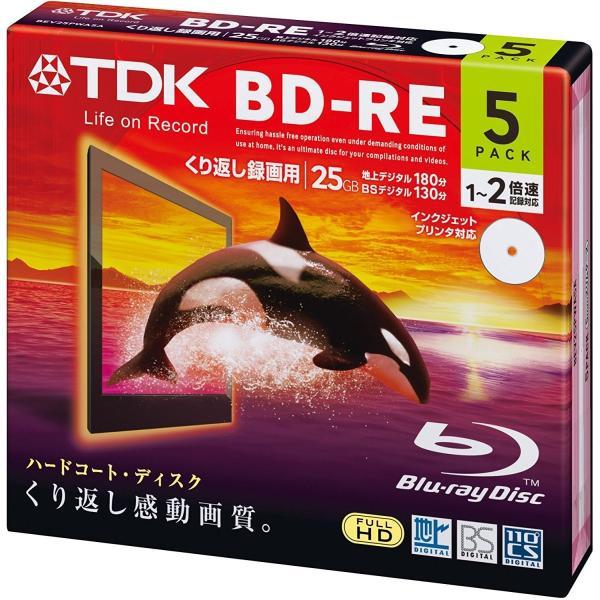 TDK 2倍速対応BD-RE 5枚パック 25GB ホワイト プリンタブル BEV25PWA5A|three-s-mart