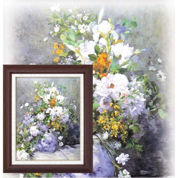 名画額縁/フレームセット 〔F6号〕 ルノワール 「花瓶の花」 433×525×50mm 壁掛けひも付き/代引不可