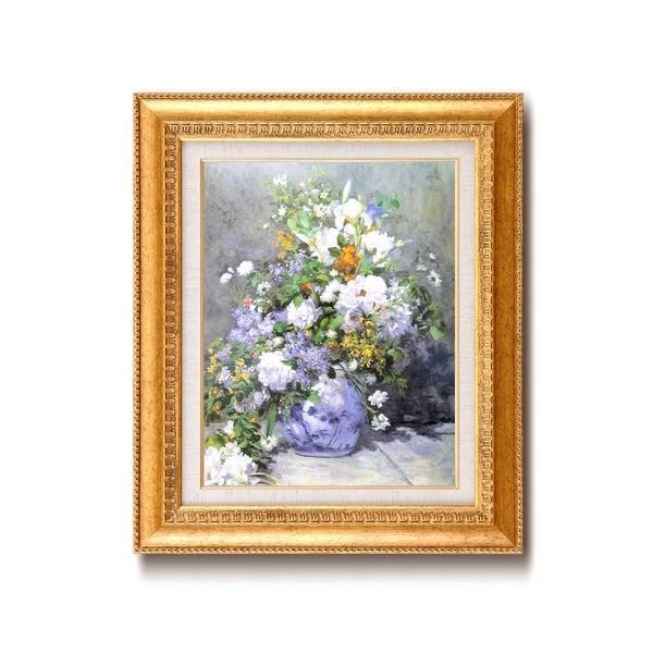 名画額縁/フレームセット 〔F6号〕 ルノワール 「花瓶の花」 460×552×55mm 壁掛けひも付き 金フレーム/代引不可