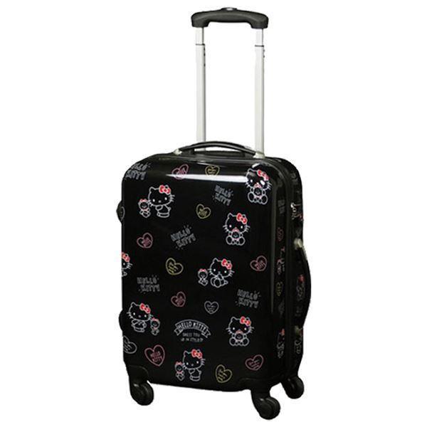〔ハローキティ〕 スーツケース 〔S ブラック〕 幅40×奥行20×高さ55cm 耐衝撃性 軽量 キャリーバー2段階 鍵式TSAロック/代引不可