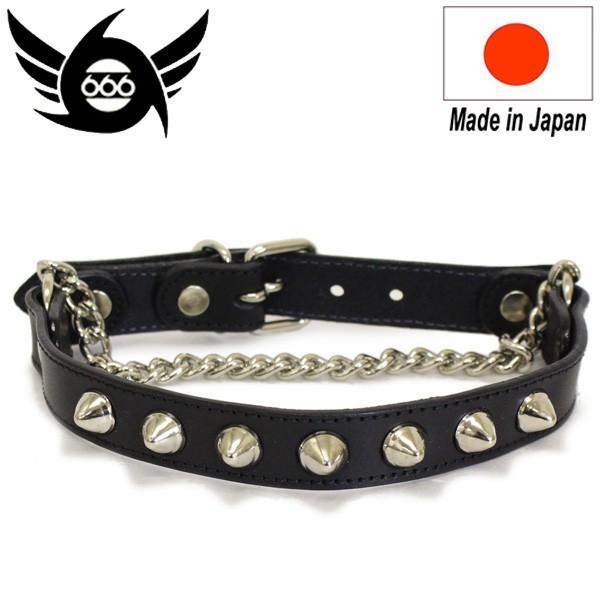 666 STUDDED GEAR コニカル ブーツストラップ ブラックレザー/シルバー鋲/ブラックステッチ 日本製 SOF002