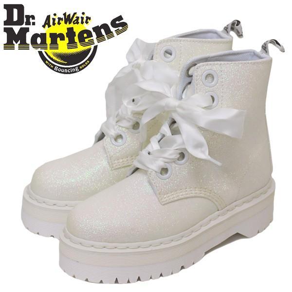 Dr.Martens (ドクターマーチン) 24860123 WMS MOLLY GLITTER モリー グリッター 6ホール レディースブーツ IRIDESCENT WHITE ラメ