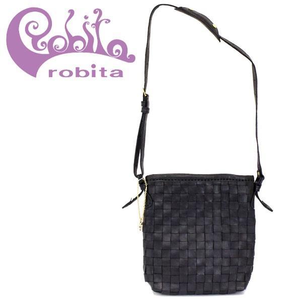 robita(ロビタ) AN 219 アンティークメッシュレザー ショルダーバッグ ブラック RBT037