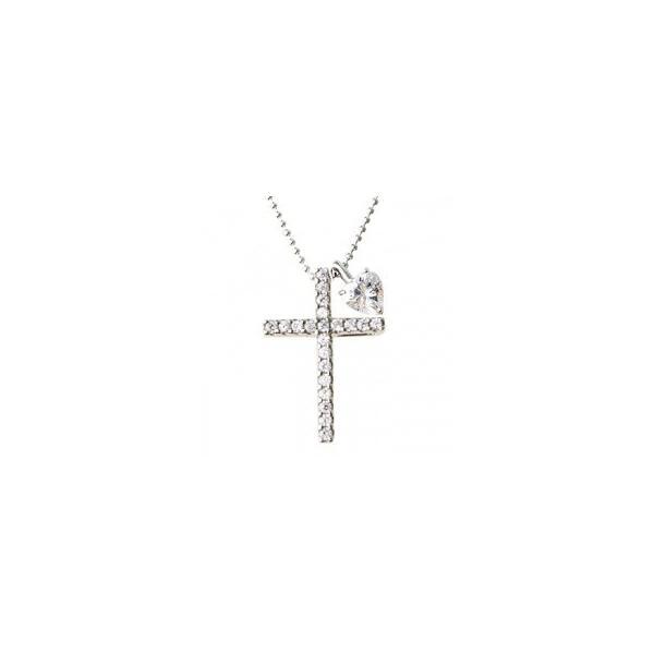 レディースネックレス クロス ハート 十字架 シルバーSV925 ピンクゴールドプラチナコーティング ストーン 石付き 上品 大人気ブランド ペンダント
