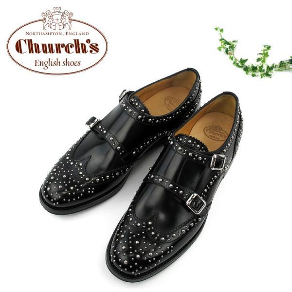 Church's LANA MET 8965 チャーチ レディース ダブルモンクシューズ レザーシューズ 革靴 スタッズ〔SK〕