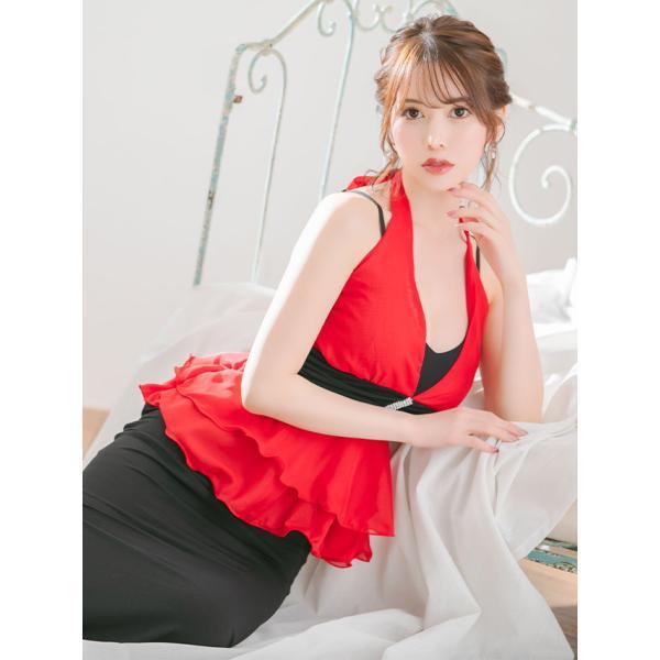 628b3104052ec ... キャバ ドレス キャバドレス 大きいサイズ Sサイズ〜XXXLサイズ Tika ティカ ホルター ぺプラム ...
