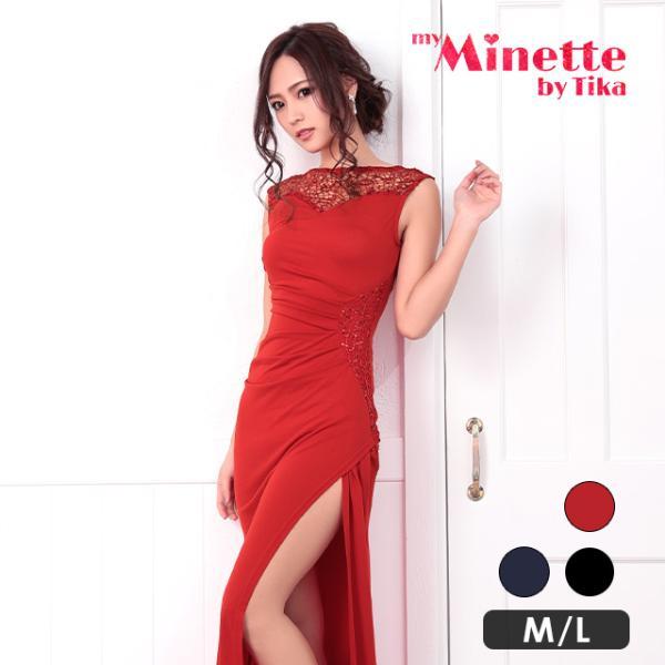 60b57f350b5e0 Shopping  キャバ ドレス キャバドレス Tikaholic ティカホリック レース×スパンコールデザインロングドレス ブラック ネイビー  レッド Mサイズ Lサイズ  3