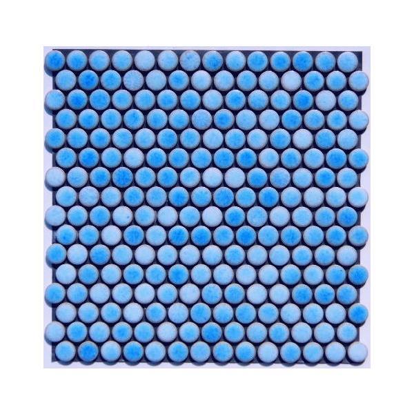丸モザイクタイル シート(224粒)販売。(19mm 磁器質)青・紺 ミックスデザインタイル対応、おしゃれなアンティーク、レトロモダン風。玄関・テーブル・浴室