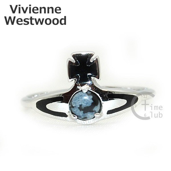 Vivienne Westwood (ヴィヴィアンウエストウッド) 指輪 ベッツィーリング BETSY RING シルバー/ブラック SR391/5 XS S M アクセサリー レディース|timeclub