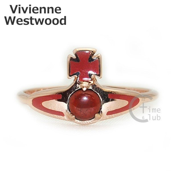 Vivienne Westwood (ヴィヴィアンウエストウッド) 指輪 ベッツィーリング BETSY RING ピンクゴールド/レッド SR391/7 XS S M アクセサリー レディース|timeclub