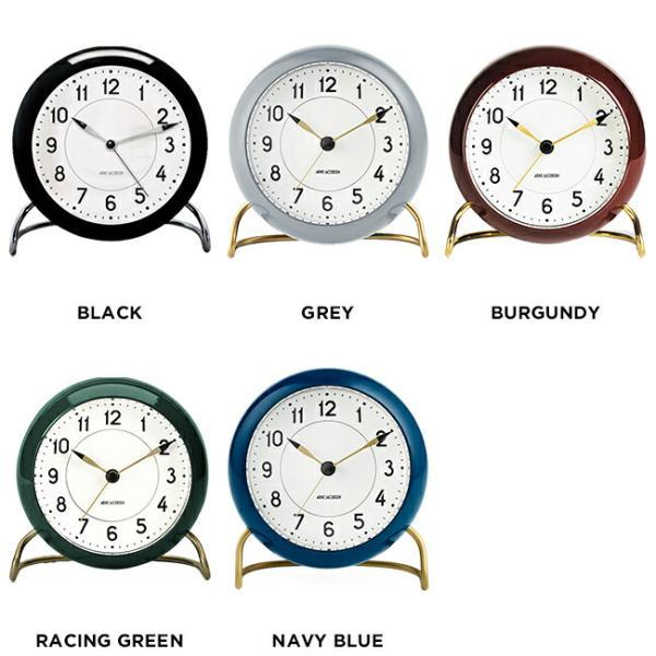 ARNE JACOBSEN アルネ ヤコブセン テーブル クロック ステーション 時計 置き時計 目覚まし時計 アナログ ブラック 黒 グレー ブラウン 茶 グリー|timelovers|02