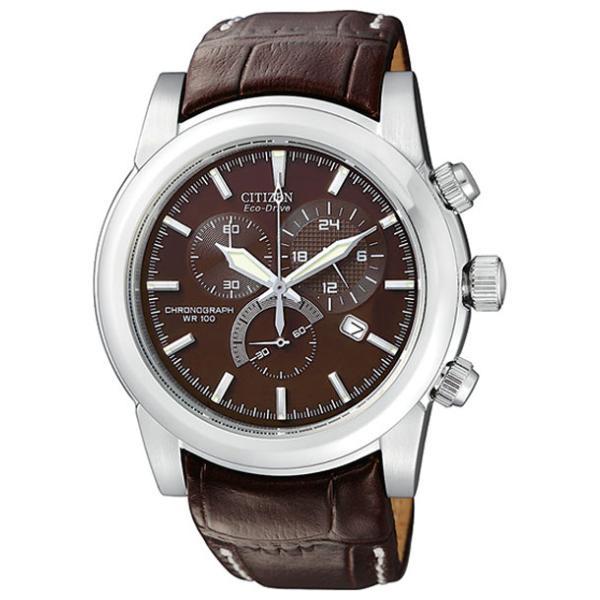 CITIZEN シチズン エコドライブ AT0550-11X 腕時計 10年保証 メンズ 逆輸入 クロノグラフ アナログ ソーラー シルバー ブラウン 茶|timelovers