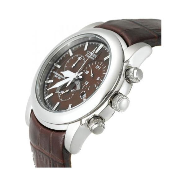 CITIZEN シチズン エコドライブ AT0550-11X 腕時計 10年保証 メンズ 逆輸入 クロノグラフ アナログ ソーラー シルバー ブラウン 茶|timelovers|02