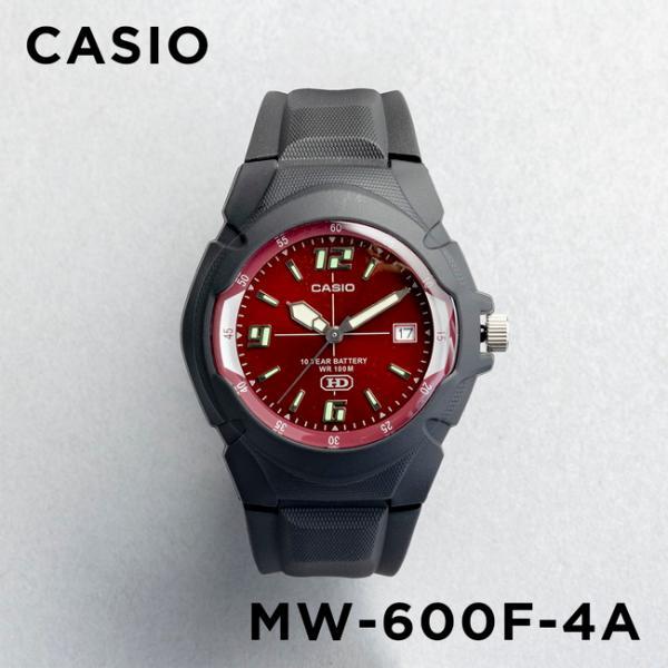 10年保証 CASIO カシオ スタンダード メンズ MW-600F-4A 腕時計 キッズ 子供 男の子 チープカシオ チプカシ アナログ 日付 防水 ブラック 黒 レッド 赤