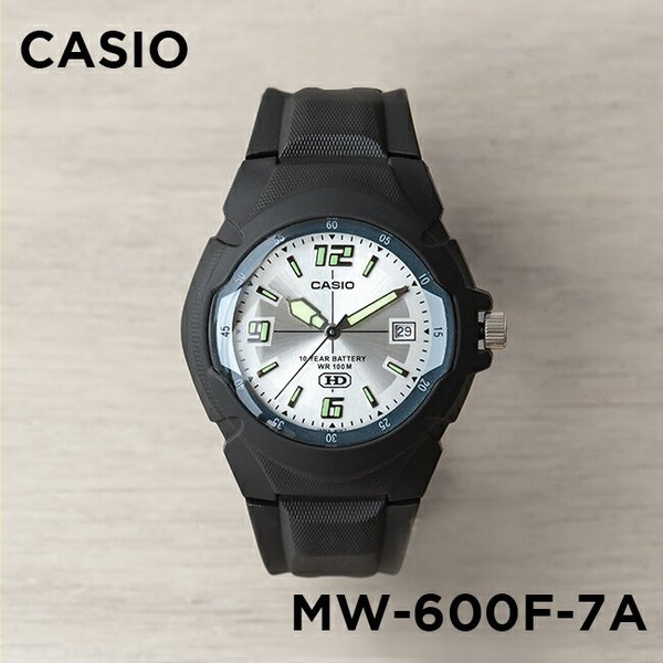10年保証 CASIO カシオ スタンダード メンズ MW-600F-7A 腕時計 キッズ 子供 男の子 チープカシオ チプカシ アナログ 日付 防水 ブラック 黒 シルバー