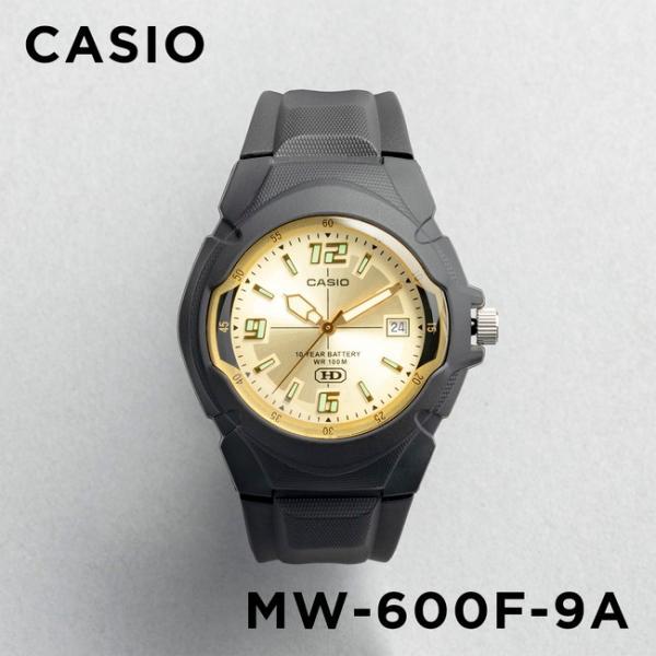 10年保証 CASIO カシオ スタンダード メンズ MW-600F-9A 腕時計 キッズ 子供 男の子 チープカシオ チプカシ アナログ 日付 防水 ブラック 黒 ゴールド