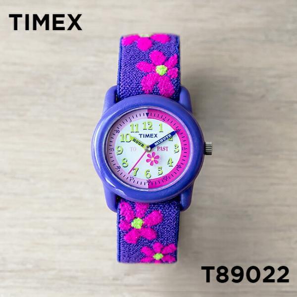 <title>TIMEX タイメックス キッズ アナログ 29MM T89022 腕時計 子供 女の子 パープル 紫 ピンク フラワー 代引き不可 花</title>