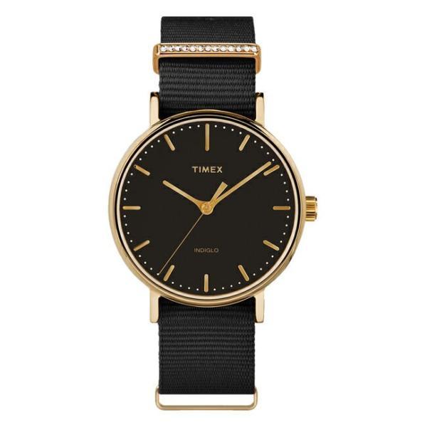 並行輸入品 TIMEX タイメックス フェアフィールド クリスタル 37MM レディース TW2R49200 腕時計 アナログ ブラック 黒 ゴールド 金 スワロフスキー 海外モデル|timelovers
