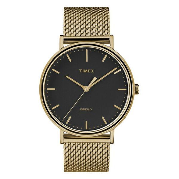 並行輸入品 TIMEX タイメックス フェアフィールド 41MM メンズ TW2T37300 腕時計 レディース アナログ ゴールド 金 ブラック 黒 メッシュ 海外モデル|timelovers