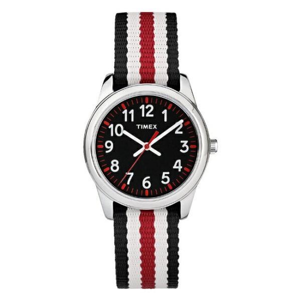 <title>TIMEX タイメックス キッズ アナログ 開店祝い 30MM TW7C10200 腕時計 子供 男の子 女の子 シルバー ブラック 黒 ナイロンベルト</title>