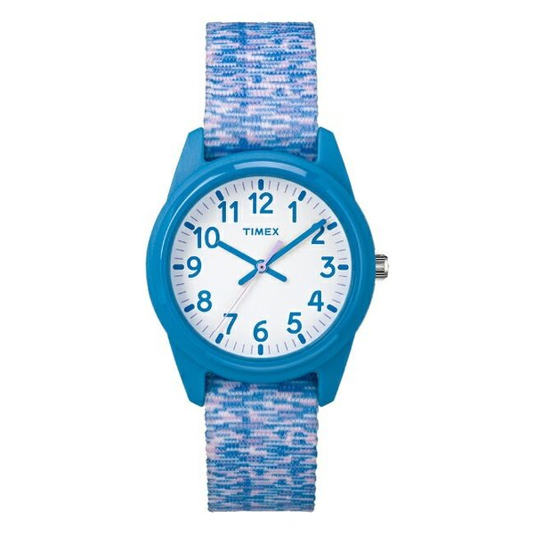 <title>返品交換不可 TIMEX タイメックス キッズ アナログ 32MM TW7C12100 腕時計 子供 男の子 女の子 スカイブルー 水色 ホワイト 白 ナイロンベルト 海外モデル</title>