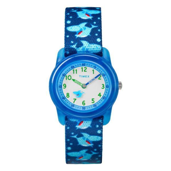 <title>TIMEX 5☆好評 タイメックス キッズ アナログ 29MM TW7C13500 腕時計 子供 男の子 女の子 ブルー ホワイト 白 サメ ナイロンベルト 海外モデル</title>