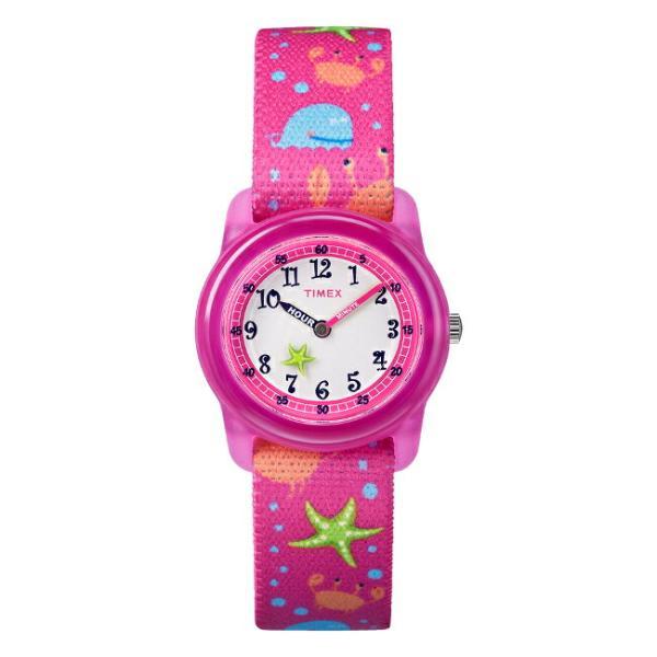TIMEX タイメックス キッズ アナログ 29MM 時間指定不可 TW7C13600 腕時計 子供 男の子 女の子 カニ ナイロンベルト 白 ピンク ホワイト タコ くじら 海外モデル 本物 ヒトデ