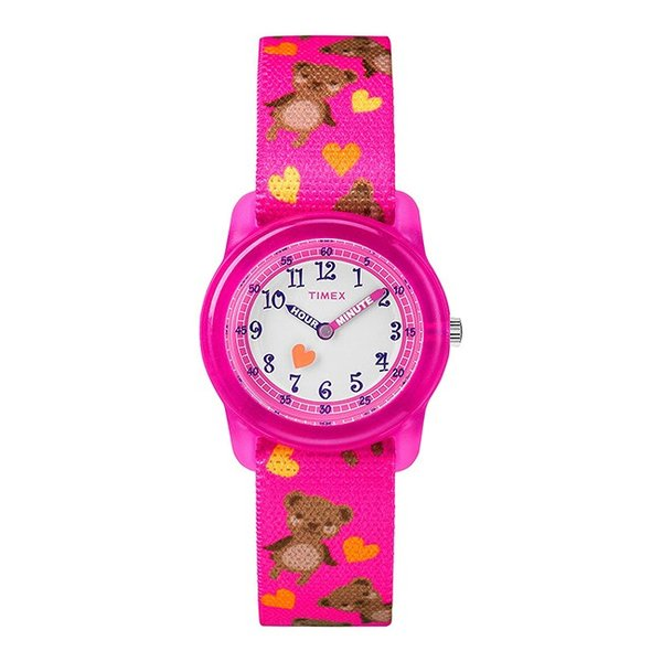<title>TIMEX タイメックス キッズ アナログ 29MM TW7C16600 腕時計 子供 男の子 女の子 上質 ピンク ホワイト 白 ハート くま ナイロンベルト</title>