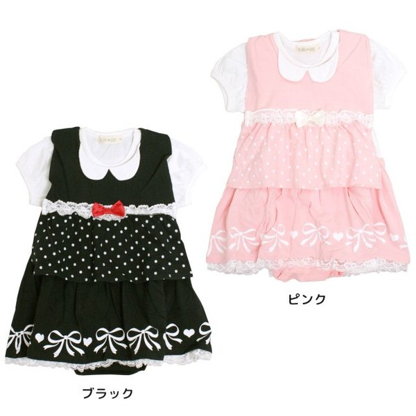ロンパース 赤ちゃん ベビー 女の子 綿100% ベスト型スタイ付き フォーマル 半袖 カバーオール ギフト 出産祝 贈り物 ミニオール 夏物在庫処分セール|timely|04
