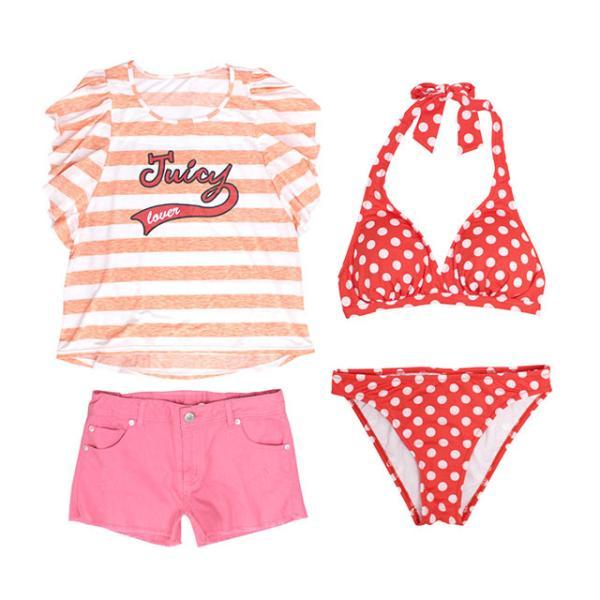 セール 水着 子供 女子 女の子 セパレート ジュニアビキニ 体型カバー Tシャツ カバーアップ ショートパンツ 160cm SS S M L