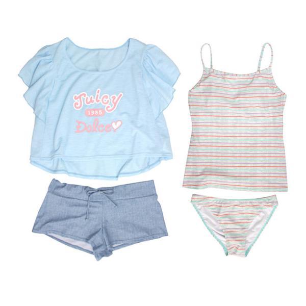 セール 水着 子供 女子 女の子 セパレート ジュニア タンキニ 体型カバー Tシャツ カバーアップ ショートパンツ 160cm M L
