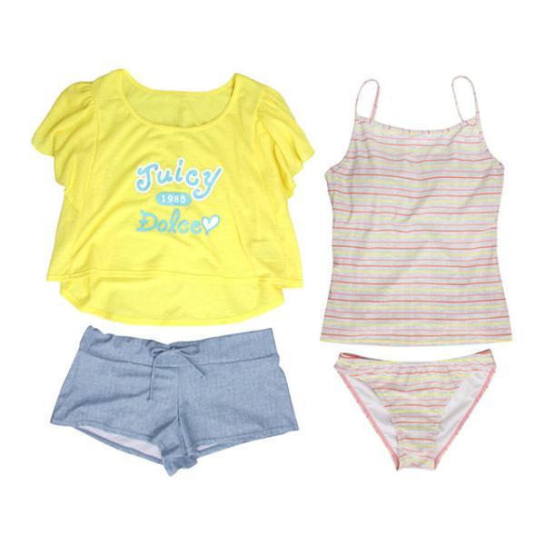 セール 水着 子供 女子 女の子 セパレート ジュニアタンキニ 体型カバー Tシャツ カバーアップ ショートパンツ 160cm M L