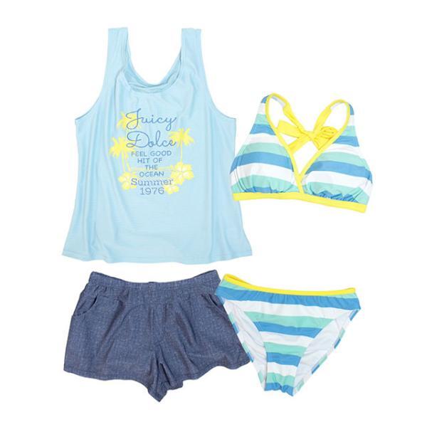 セール 水着 子供 女子 女の子 セパレート ジュニア ビキニ 体型カバー Tシャツ カバーアップ キュロットパンツ 160cm S M L