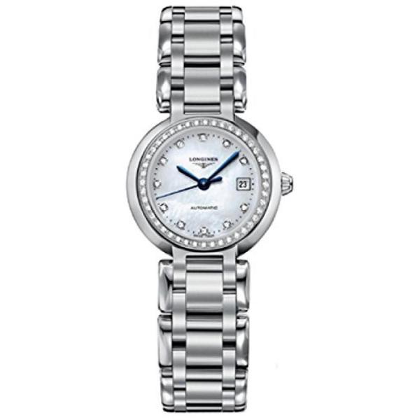 腕時計 ロンジン レディースウオッチロンジン時計ロンジン プリマ ルナ自動マザーオブ パール ダイヤモンド マーカーをダイヤルし、ダイヤモンドのベゼル